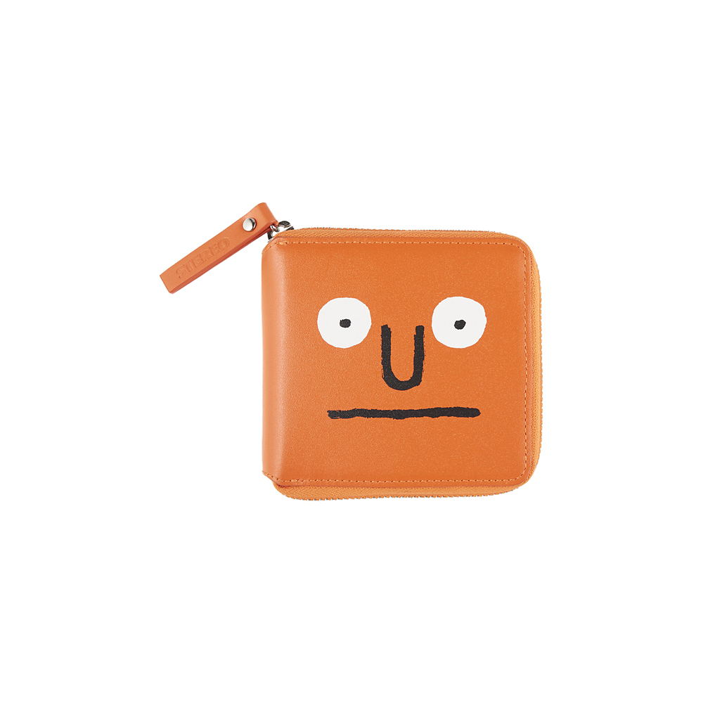 [AW16 JJ x SV] Face Cowhide Leather Wallet(Orange)