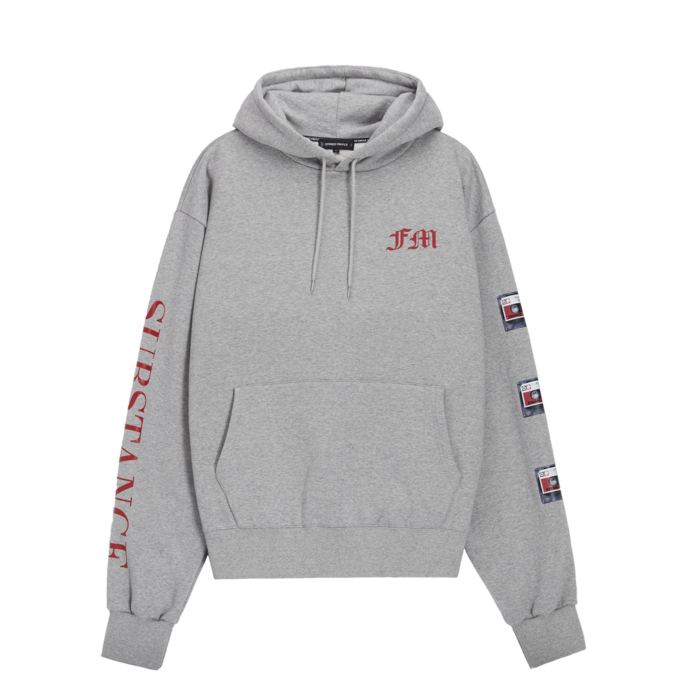 [AW16 Music] Tape Oversized Hoodie(Grey) STEREO-SHOP