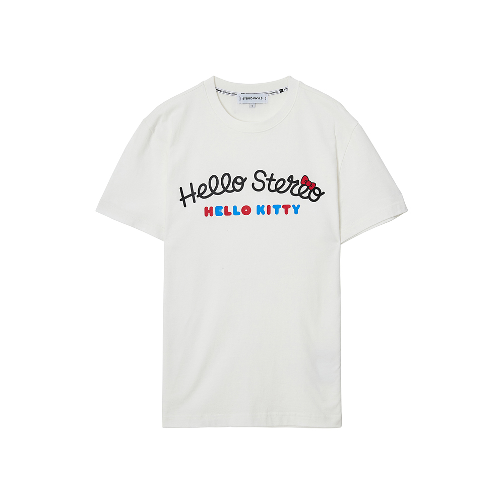 [Hello Kitty] Hello Stereo S/S T-shirts(White) 스테레오 바이널즈