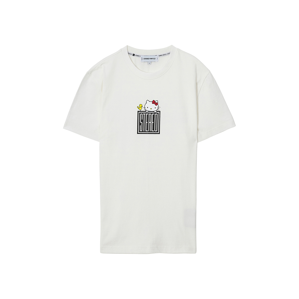 [Hello Kitty] Square Logo S/S T-shirts(White) 스테레오 바이널즈