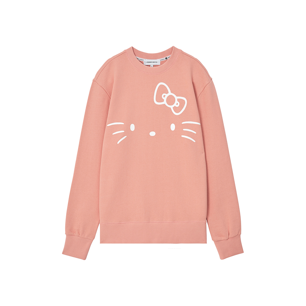 [Hello Kitty] Kitty Face Sweatshirt(Pink) 스테레오 바이널즈