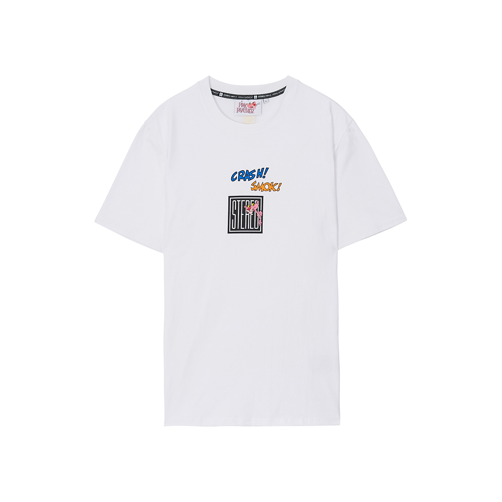 [Pink Panther] Square Logo S/S T-shirts (White) 스테레오 바이널즈