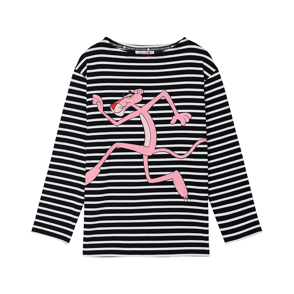 [Pink Panther] Run Stripe Long Sleeve(Black) 스테레오 바이널즈