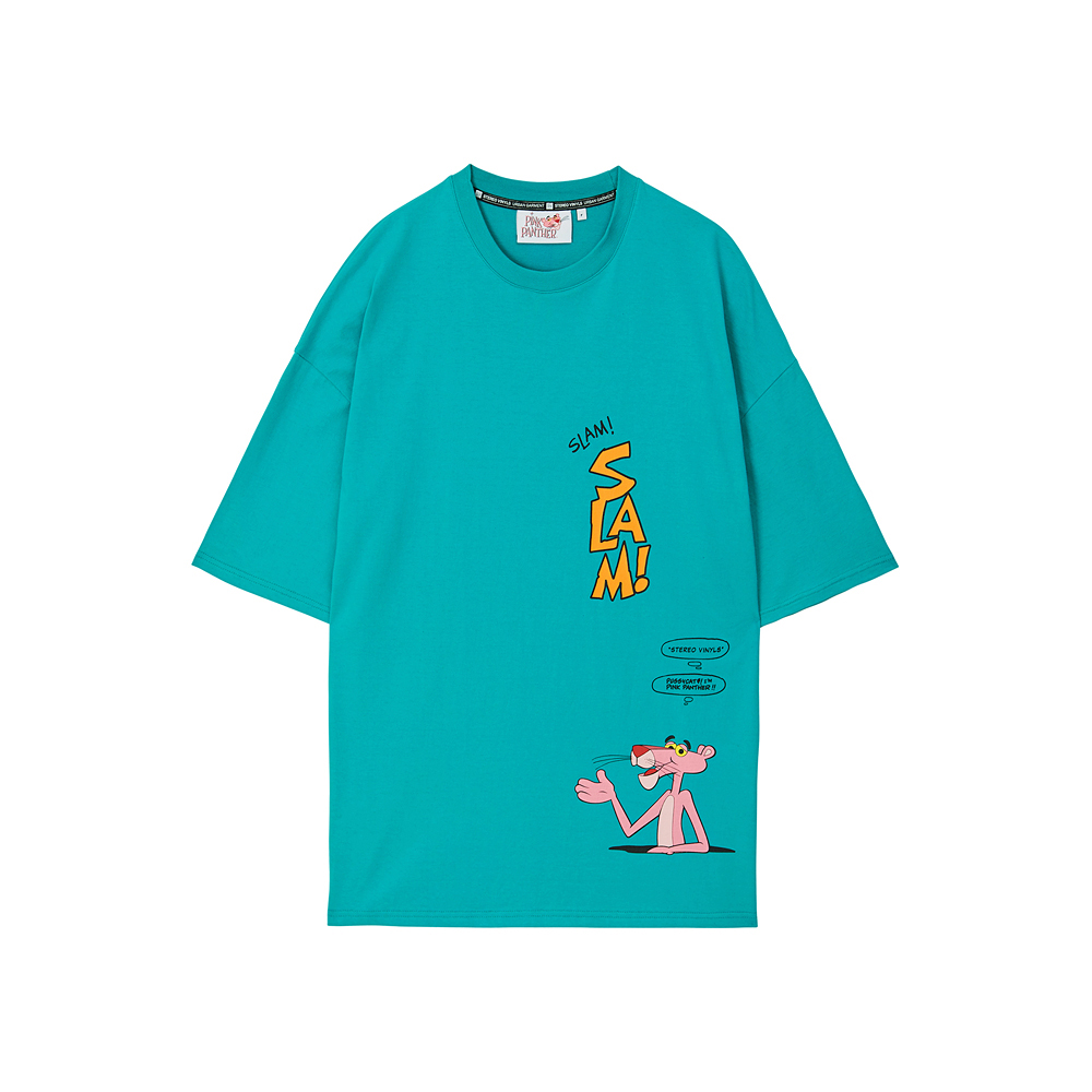 [Pink Panther] Comics S/S T-shirts(Green) 스테레오 바이널즈