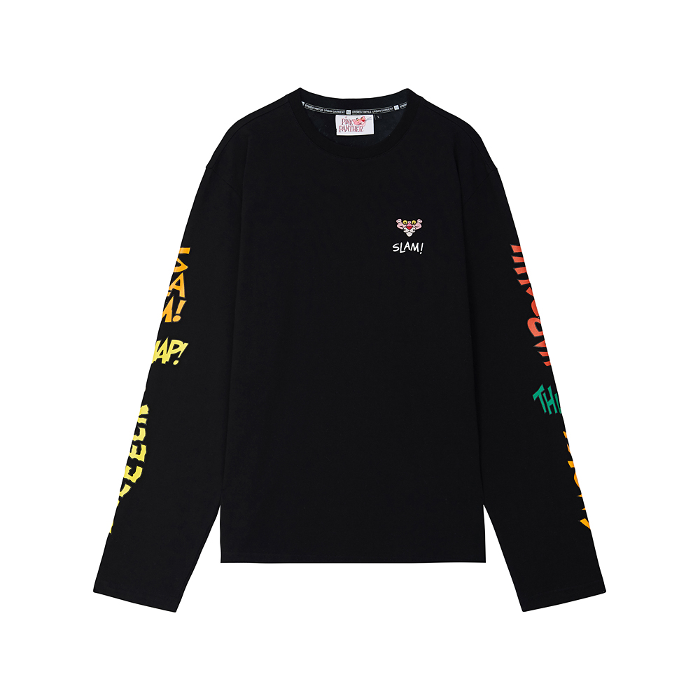 [Pink Panther] Comics Long Sleeve(Black) 스테레오 바이널즈