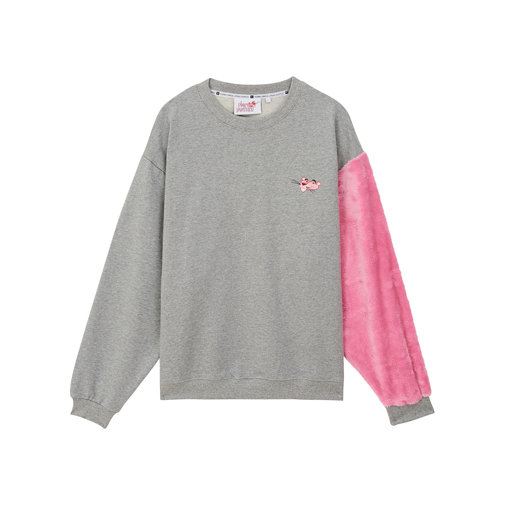 [AW17 Pink Panther] Faux Fur Sleeve Sweatshirts(Melange Grey) 스테레오 바이널즈