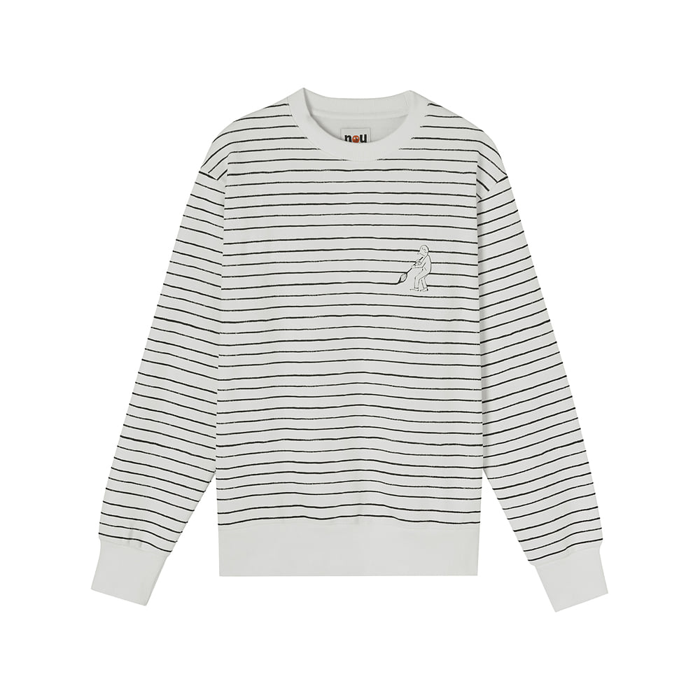 [AW17 NOUNOU] Painting Stripe Fleece Sweatshirts(White) 스테레오 바이널즈