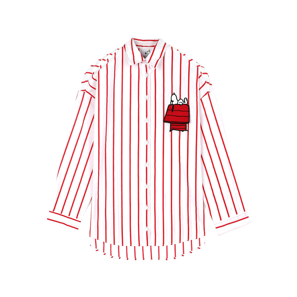 [SS18 Peanuts] Snoopy House Stripe Shirts(Red) 스테레오 바이널즈