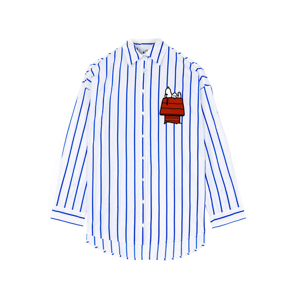 [SS18 Peanuts] Snoopy House Stripe Shirts(Blue) 스테레오 바이널즈