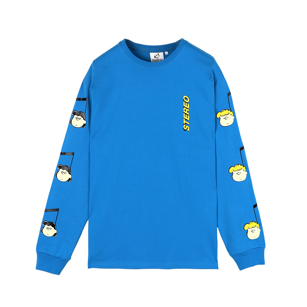[SS18 Peanuts] Music Note Long Sleeve(Blue) 스테레오 바이널즈