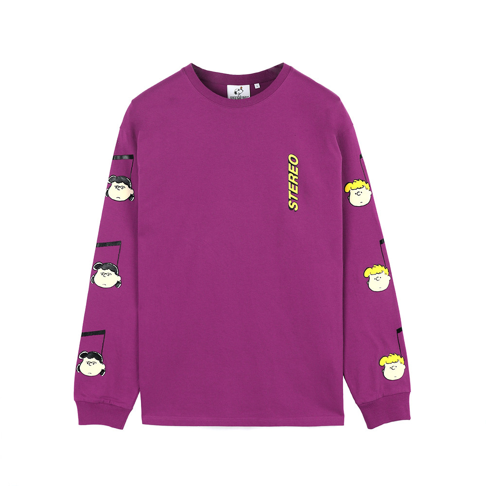 [SS18 Peanuts] Music Note Long Sleeve(Purple) 스테레오 바이널즈