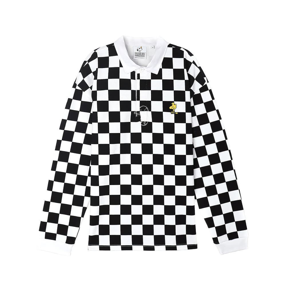 [SS18 Peanuts] Checker Rugby Shirts(Black) 스테레오 바이널즈