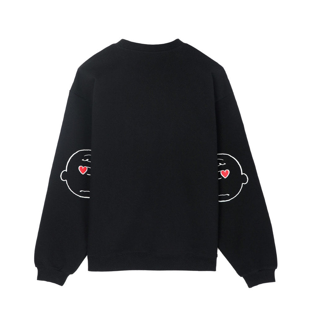 [SS18 Peanuts] Elbow Patch Sweatshirts(Black) 스테레오 바이널즈