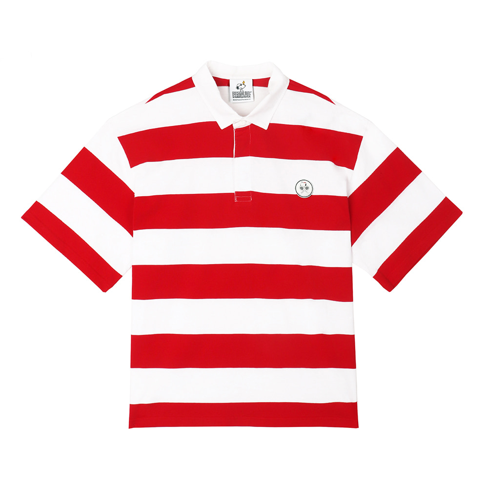 [SM18 Peanuts] Stripe Rugby Shirts(Red) 스테레오 바이널즈