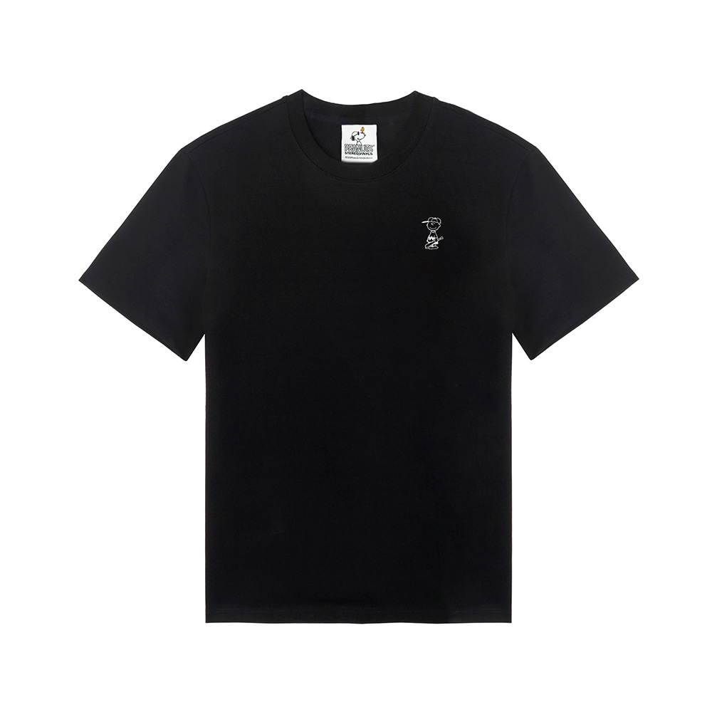[SM18 Peanuts] Charlie Point T-Shirts(Black) 스테레오 바이널즈