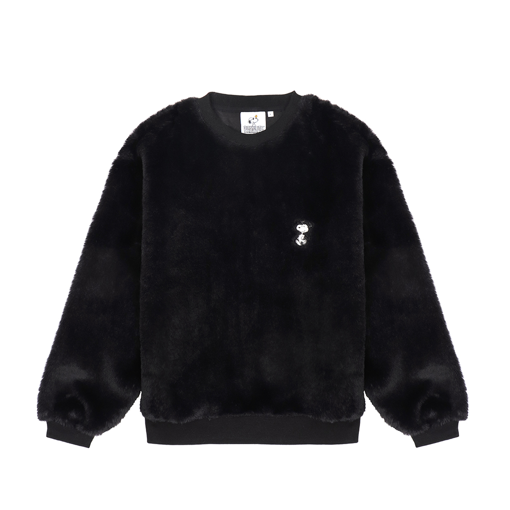 [FW18 Peanuts] Snoopy Fake Fur Sweatshirts(Black) 스테레오 바이널즈