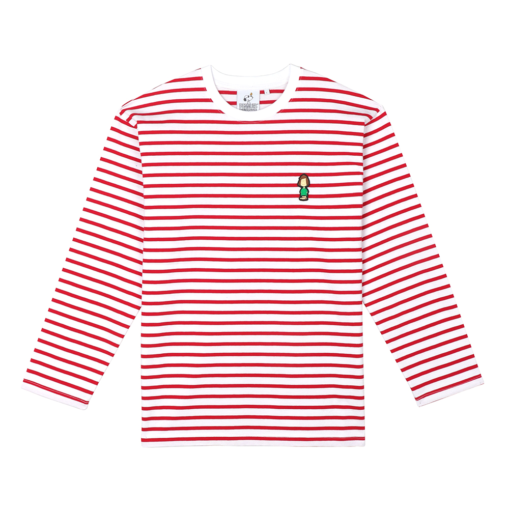 스테레오 바이널즈 - [FW18 Peanuts] Stripe Roundneck Long Sleeve(Red)