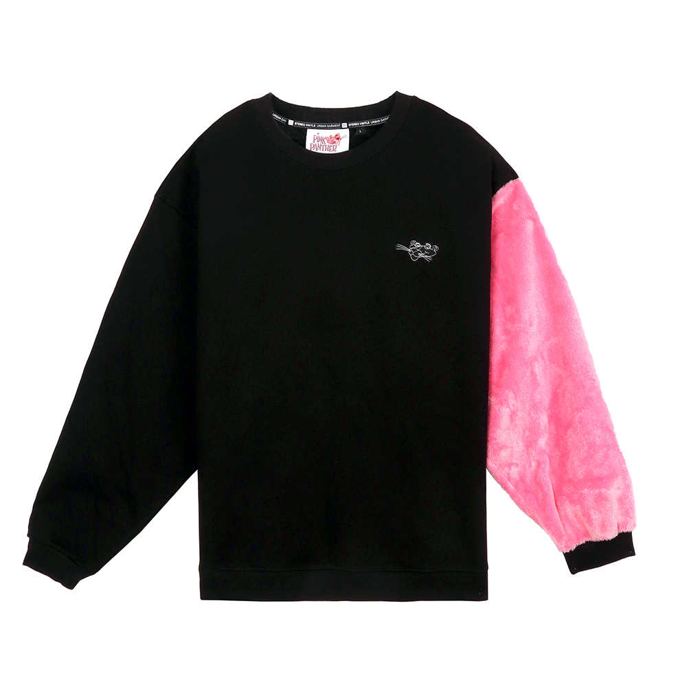 [SS19 Pink Panther] Fur Sleeve Sweatshirts(Black) 스테레오 바이널즈