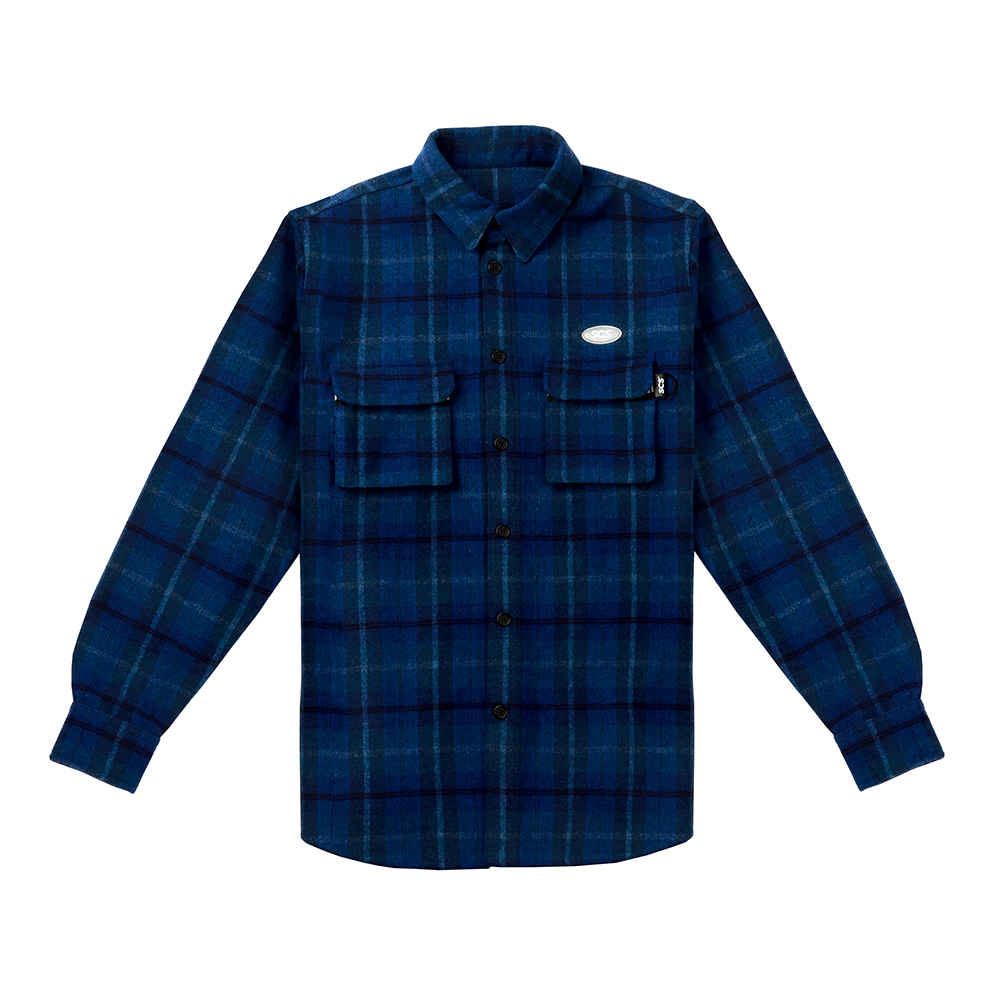 [FW18 SV] Logo Flannel Shirt(Blue) 스테레오 바이널즈[FW18 SV] Logo Flannel Shirt(Blue)