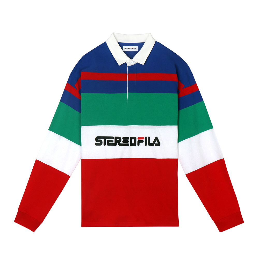 스테레오 바이널즈 - [SS19 STEREO X FILA] Color block Rugby Shirts(Red)