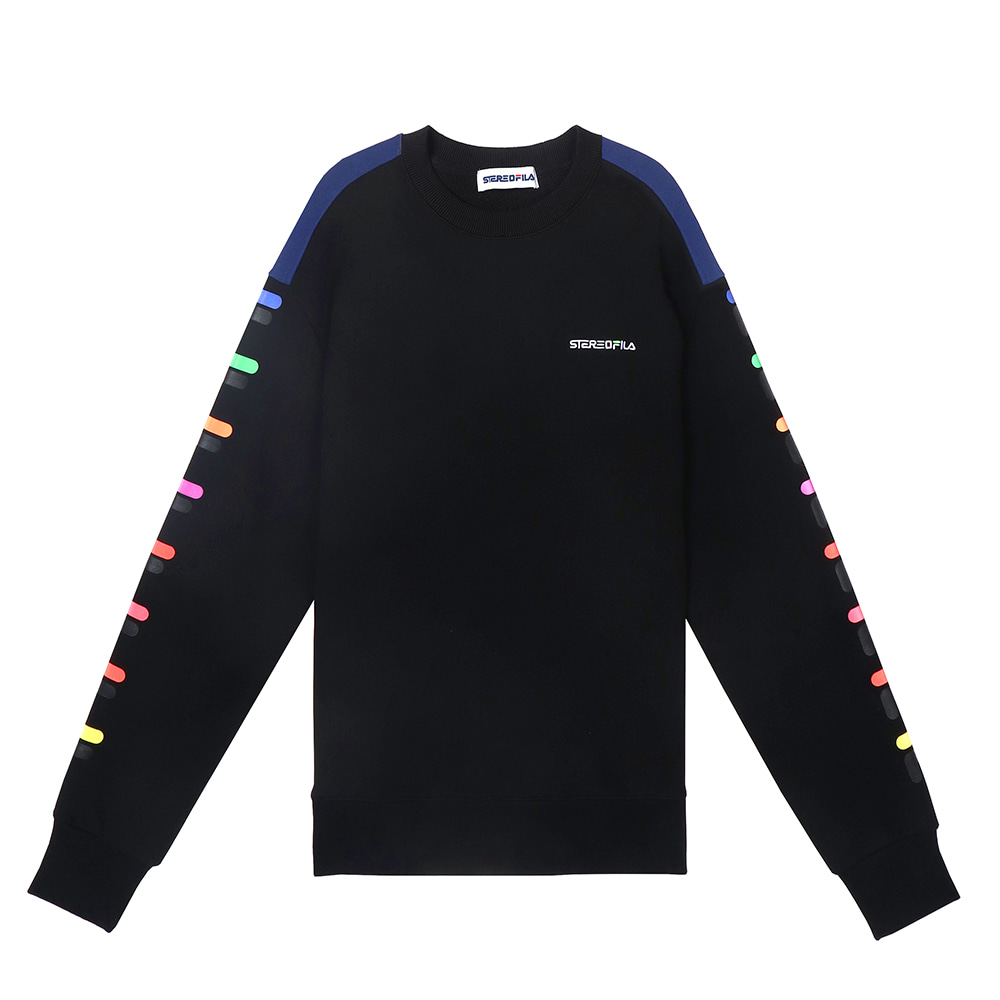[SS19 STEREO X FILA] Color of Sound Sweatshirt(Black) 스테레오 바이널즈