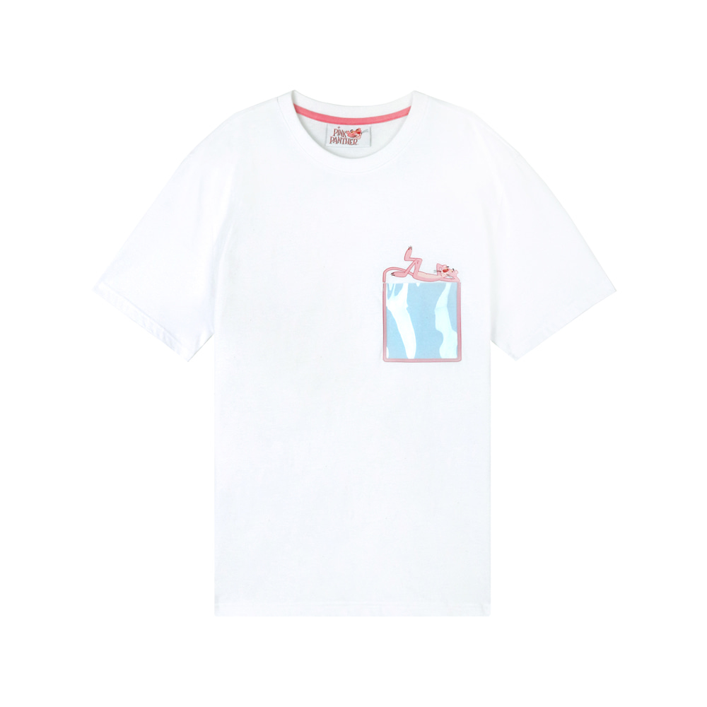 [SS19 Pink Panther] PP Clear Pocket T-Shirts(White) 스테레오 바이널즈