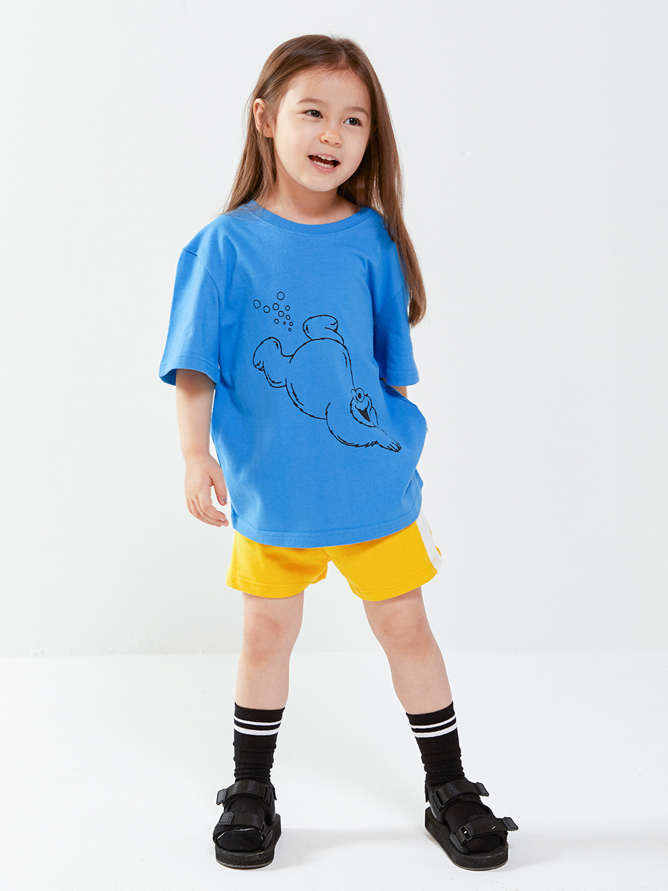 [SM20 SV X Sesame Street] Swimming CM T-shirts for Kids(Blue) 스테레오 바이널즈[SM20 SV X Sesame Street] Swimming CM T-shirts for Kids(Blue)