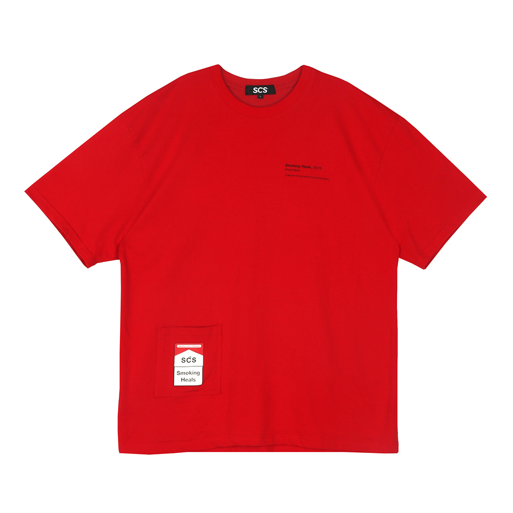 스테레오 바이널즈 - [SS19 SCS] Smoking Heals Pocket Tee(Red)
