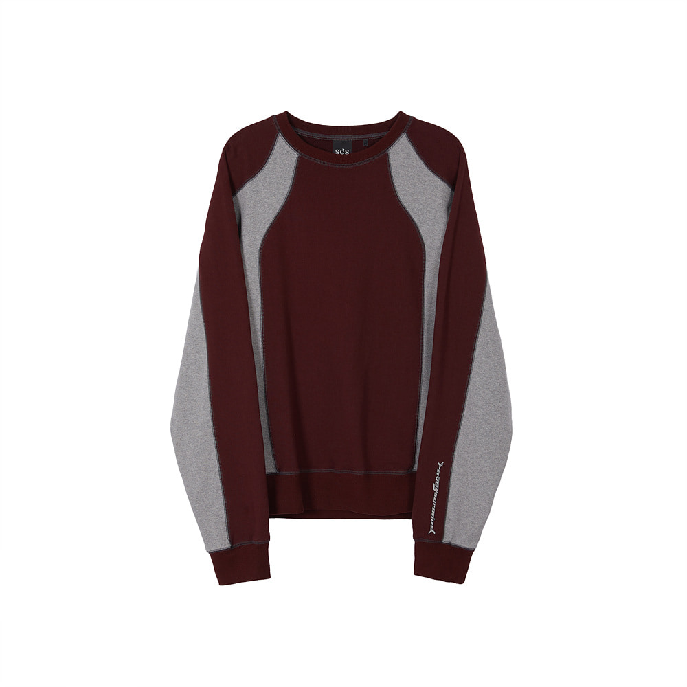 스테레오 바이널즈 - [AW20 SCS] Panel Sweatshirt(Burgundy)