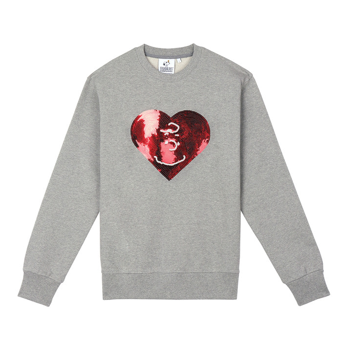 스테레오 바이널즈 - [FW18 Peanuts] Heart Spangle Sweatshirts(Melange Grey)