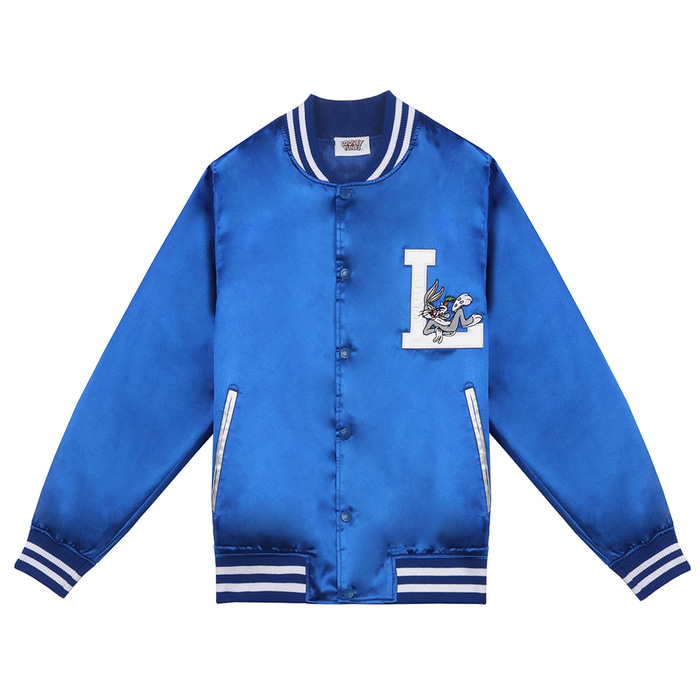 스테레오 바이널즈 - [SS19 STEREO X LOONEY TUNES] Satin Baseball Jumper(Blue)