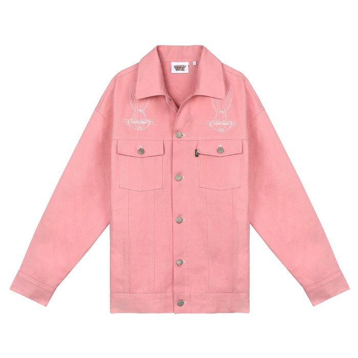 스테레오 바이널즈 - [SS19 STEREO X LOONEY TUNES] Denim Trucker Jacket(Pink)