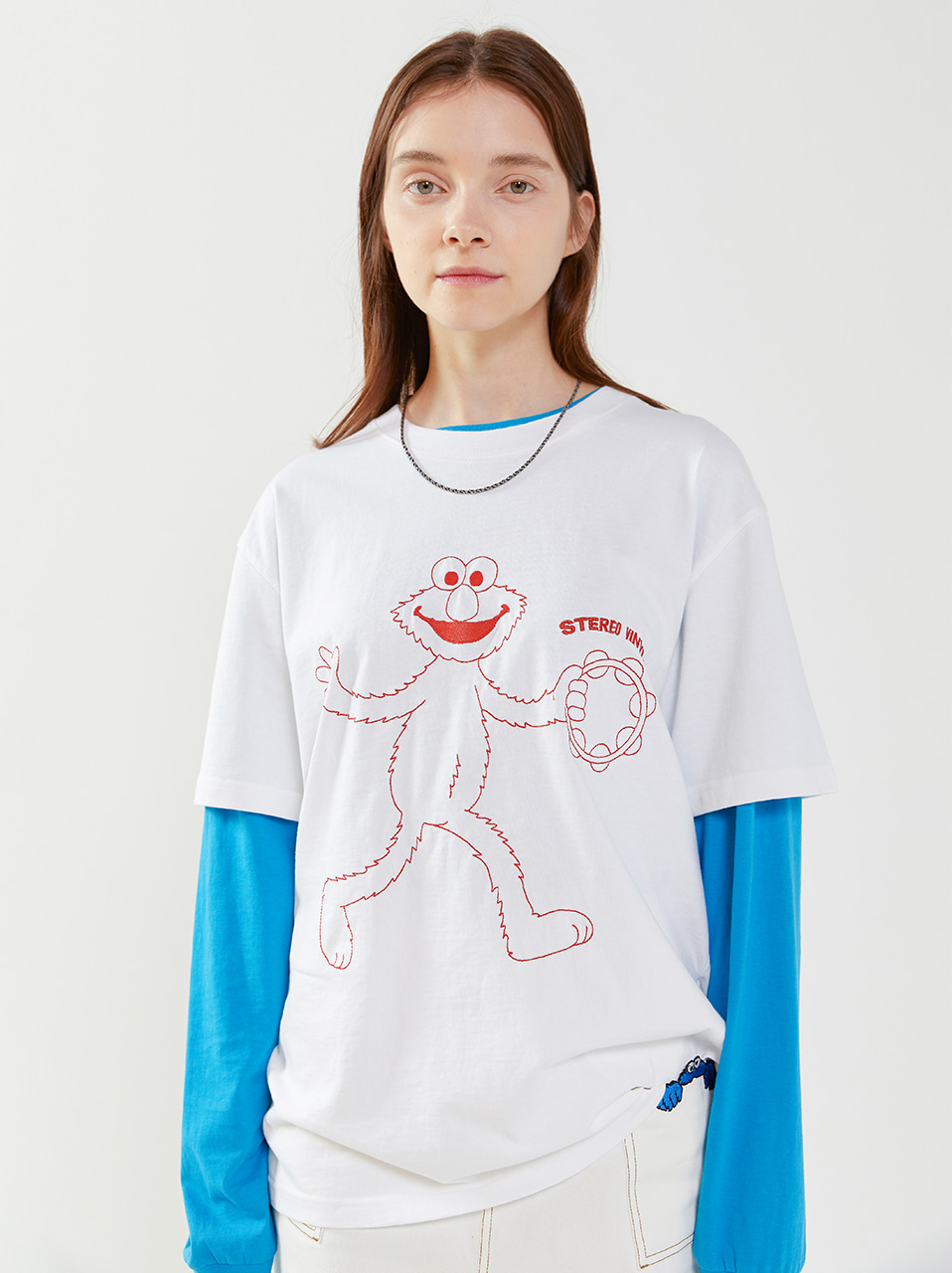 [SM20 SV X Sesame Street] Embroidered T-Shirts(White) 스테레오 바이널즈[SM20 SV X Sesame Street] Embroidered T-Shirts(White)