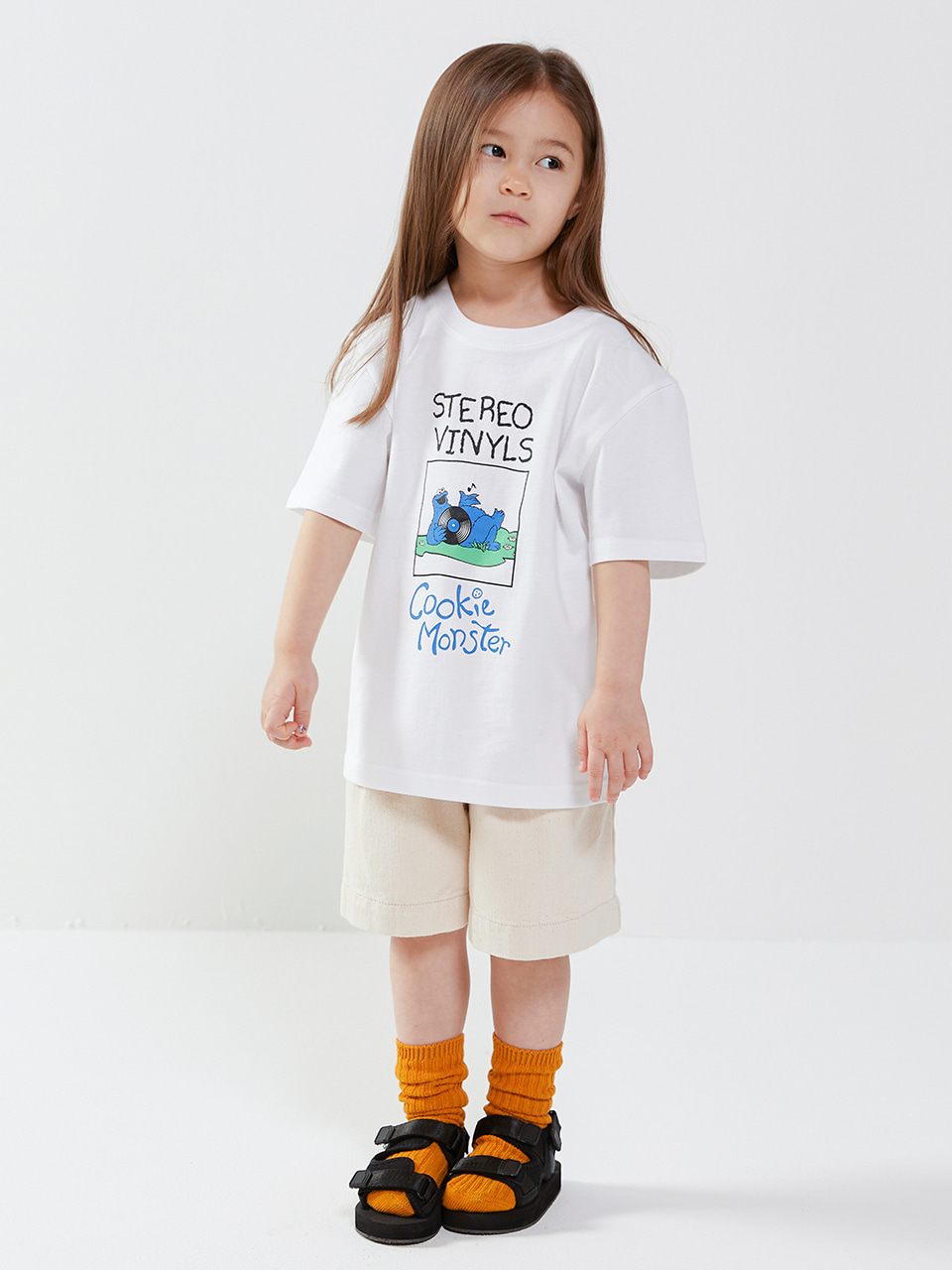 [SM20 SV X Sesame Street] Cookie Monster T-shirts for Kids(White) 스테레오 바이널즈[SM20 SV X Sesame Street] Cookie Monster T-shirts for Kids(White)