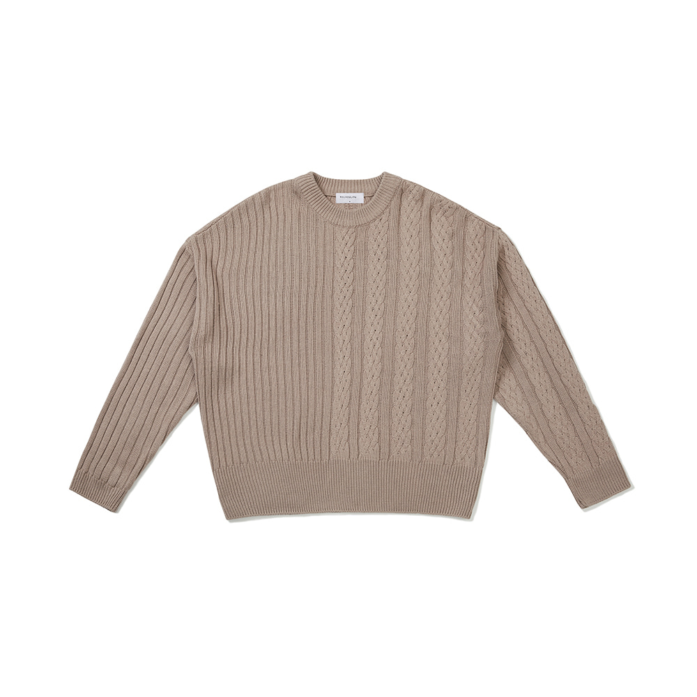 [FW20 Sounds Life] Half-Cable Knit Pullover(Beige) 스테레오 바이널즈[FW20 Sounds Life] Half-Cable Knit Pullover(Beige)